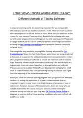 Enroll For QA Training Course Online To Learn Different Methods of Testing Software.pdf