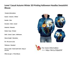 Loves' Casual Autumn Winter 3D Printing Halloween Hoodies Sweatshirt Blouse.pptx