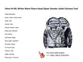 Mens M-4XL Winter Warm Fleece Hood Zipper Sweater Jacket Outwear Coat.pptx