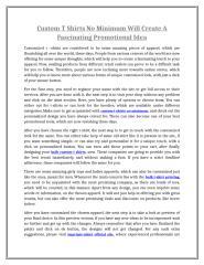 Custom T Shirts No Minimum Will Create A Fascinating Promotional Idea.doc