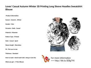 Loves' Casual Autumn Winter 3D Printing Long Sleeve Hoodies Sweatshirt Blouse.pptx