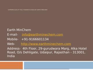 Supreme Quality Talc Powder in India by Earth MinChem.pptx